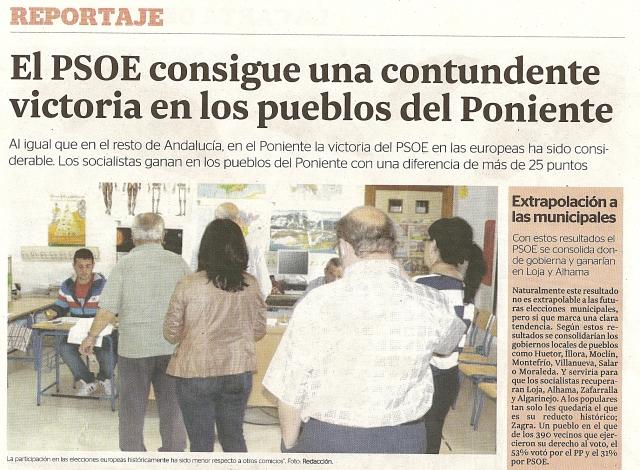 El PSOE arrasa en el Poniente en las Elecciones Europeas